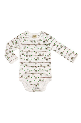 Long Sleeve Bodysuit - Owl On Branch