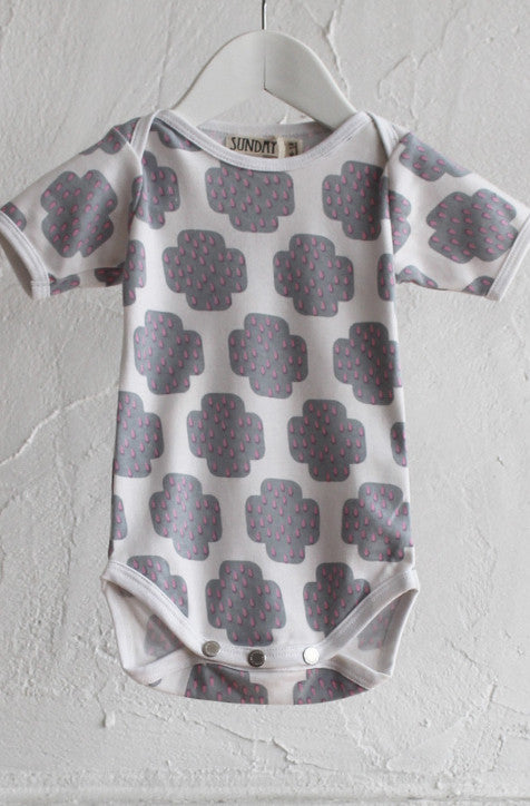 Short Sleeve Onesie - Crying Cross Grey - Tui B - 1
