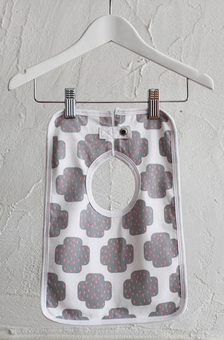 Square Baby Bib - Crying Cross Grey