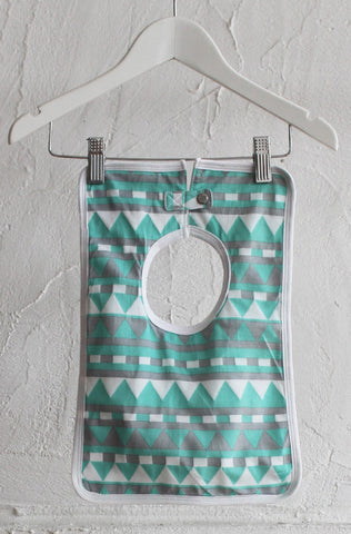 Square Baby Bib - Mint Geometric