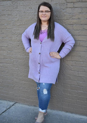 Lavender Button Front Cardigan