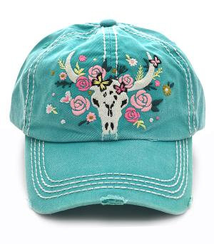 Steer Head Distressed Hat - Turquoise