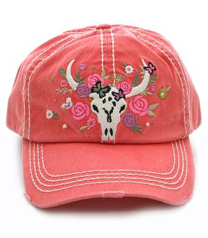 Steer Head Distressed Hat - Coral