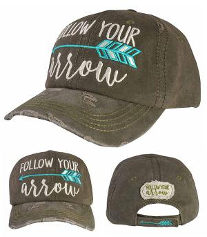 Follow Your Arrow Distressed Hat - Olive