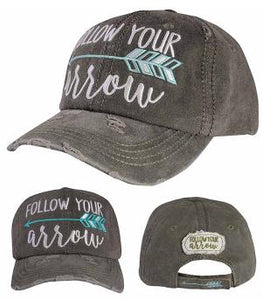 Follow Your Arrow Distressed Hat - Black