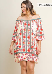 My Flower Garden Off-Shoulder Dress