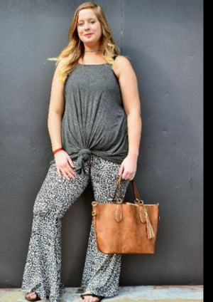 The Wild Ones Leopard Flare Bottoms - Light Gray