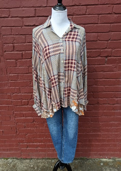Mad About Plaid Floral Top - Taupe/Wine