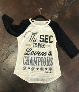 SEC Is For Lovers & Champions Burnout Raglan