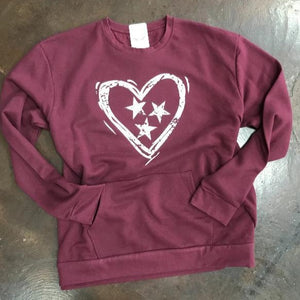 Tennessee Heart Tri-Star - Maroon
