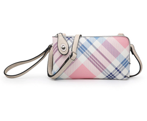 Kendall Crossbody Wristlet - Plaid Coral