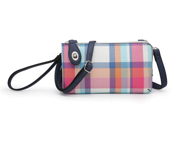 Kendall Crossbody Wristlet - Plaid Navy/Multi