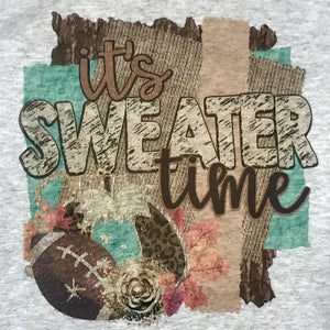 Graphic Sweatshirt - It's Sweater Time w/ Football - Gray