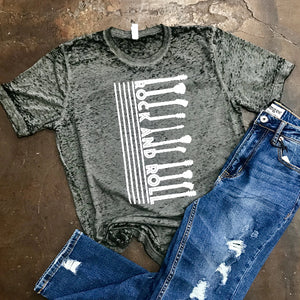 Rock and Roll Acid Wash Graphic Tee