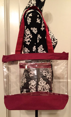 z Clear/Maroon Tote