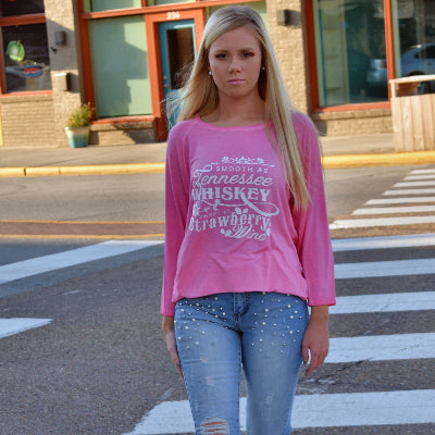 Tennessee Whisky Strawberry Wine Pink Oasis Wash Graphic Tee