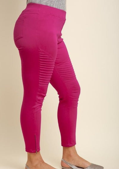 Hot Pink Moto Jeggings