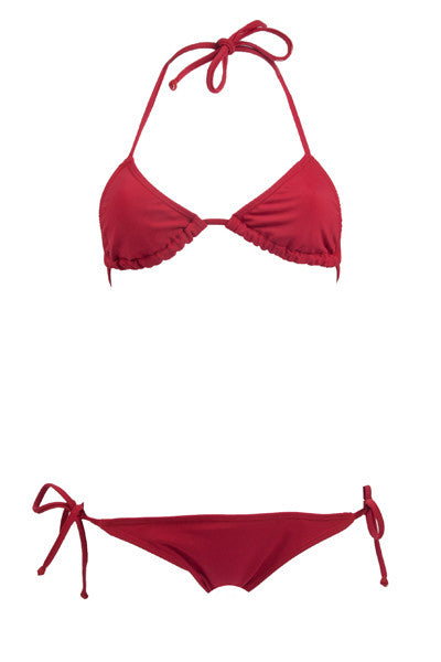 Blood Red // Triangle Halter + Cheeky Side Tie Scrunch