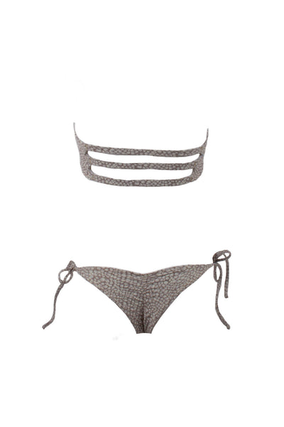 Pebble Beaches // Tube Top + Brazilian Whale Tail Side Tie Scrunch Bottom