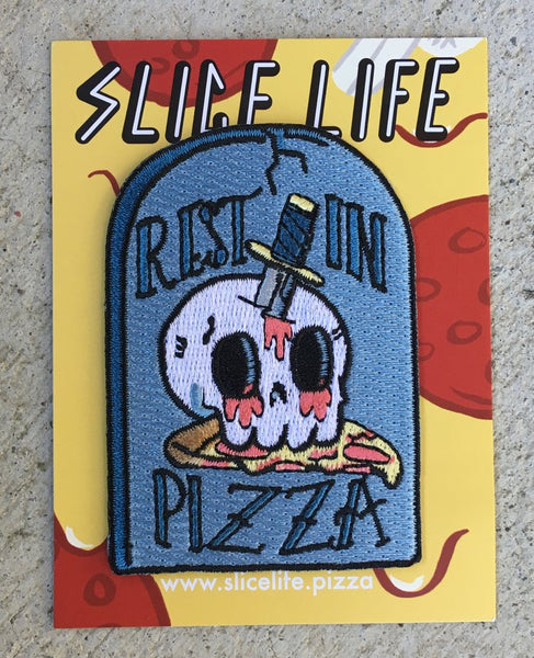 Embroidered Patch: Rest In Pizza Tombstone by Josh PM