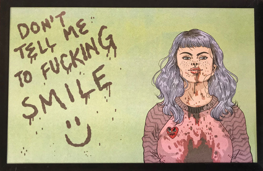"Risograph: ""Don't Tell Me to Fucking Smile"" by Jenn Woodall"