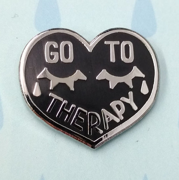 Enamel Pin: Go To Therapy by Hazel Newlevant