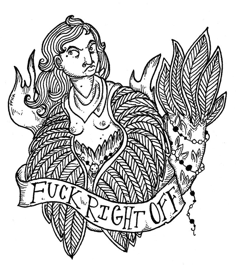 "Sticker: ""Fuck Right Off"" Harpy"
