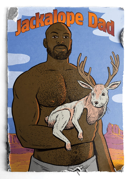 Jackalope Dad - Greeting card by Justin Hall