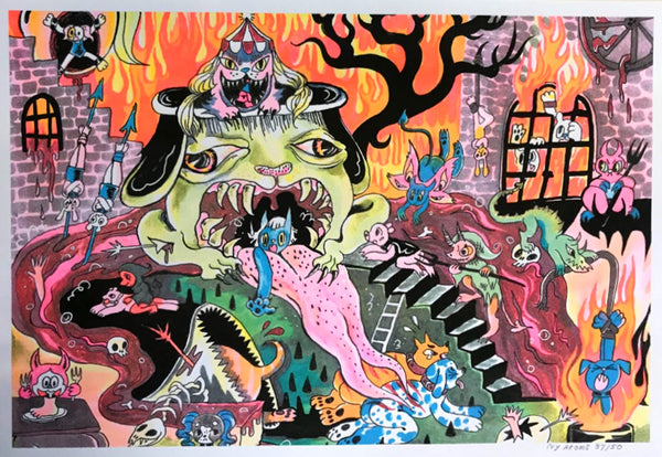"Print: ""Hell's Mouth"" Risograph from Pinky & Pepper Forever by Ivy Atoms"