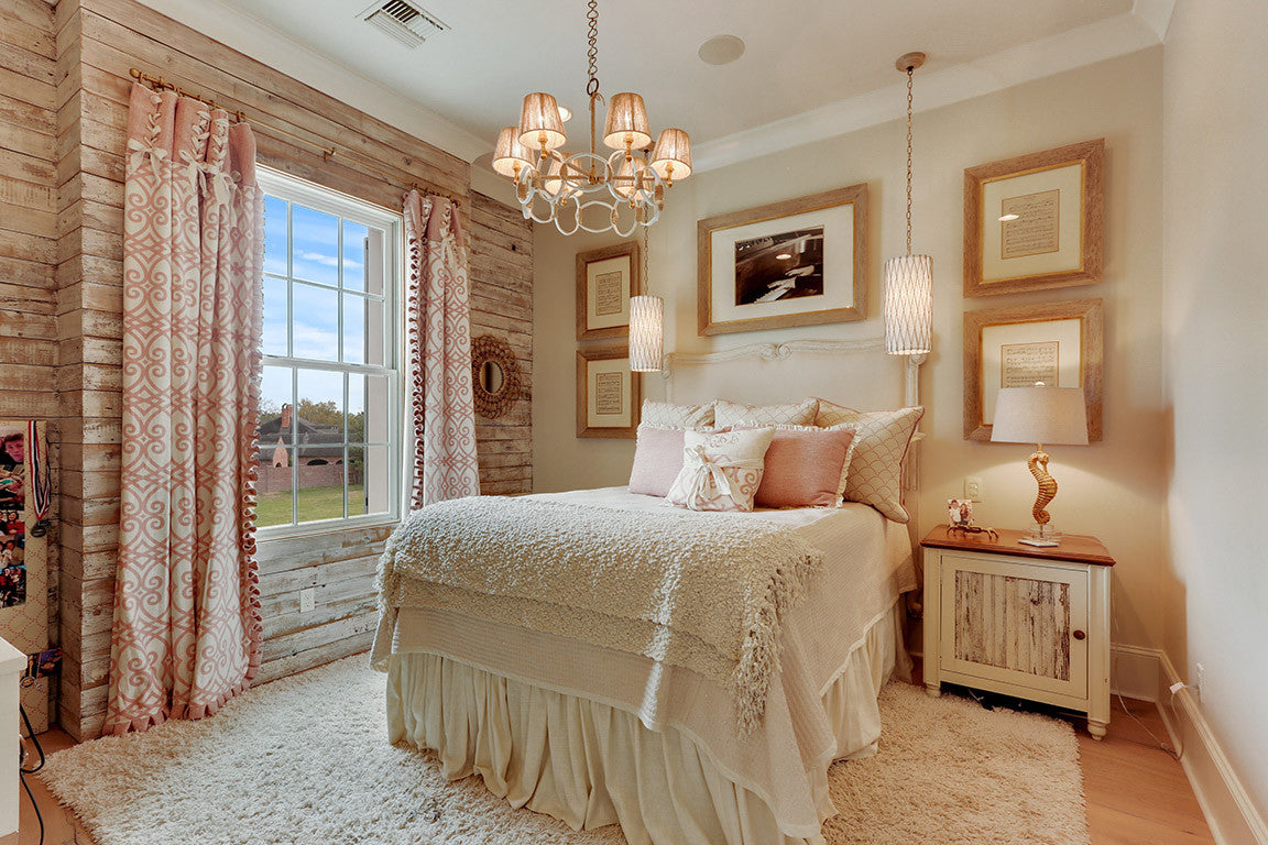 Jodi Bolgiano Custom Interiors Girl's Bedroom with Wooden Accent Wall