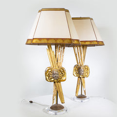 Pair Of Italian 18th C. Gilt wood Lamps