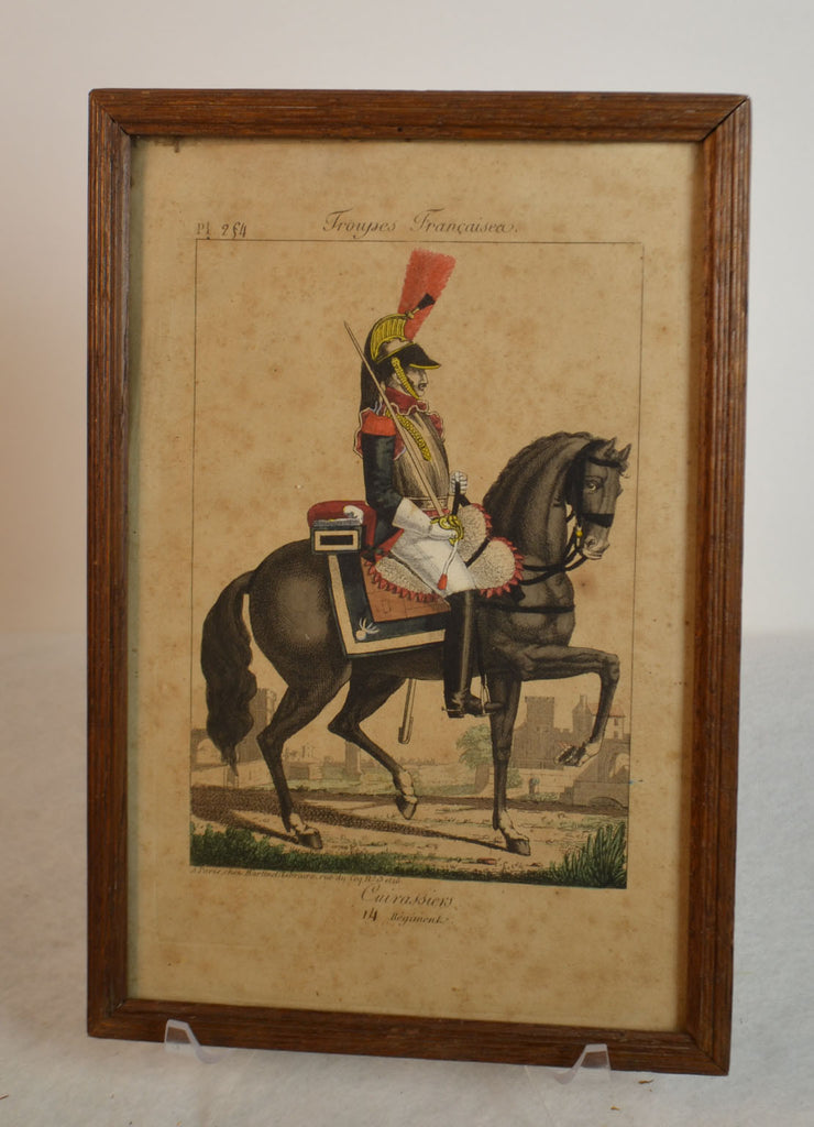 Framed Empire Period Engraving Of French Cavalry