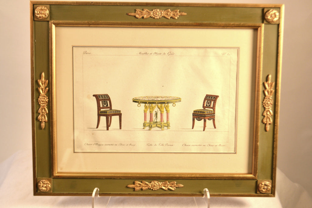 Framed Hand Colored Engraving Of Furnishings