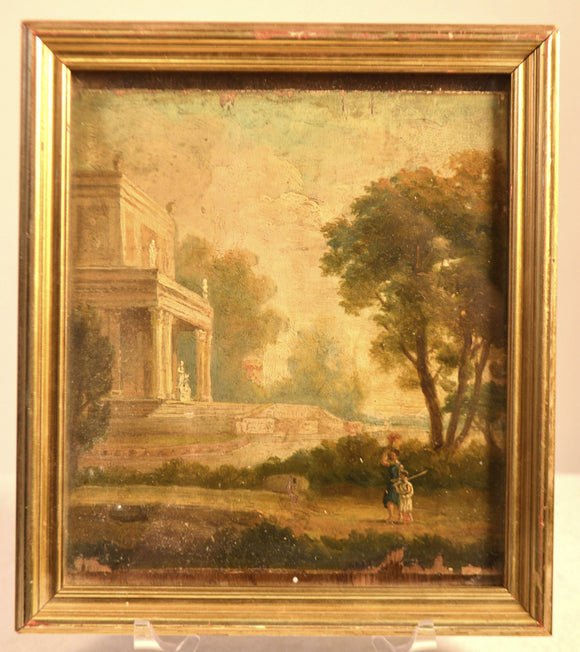 Small 19th Century Framed Painting On Wood Panel