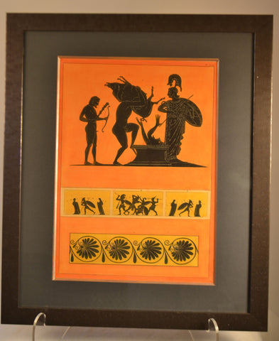Framed Hand Colored Engraving Of Antique Greek Vases