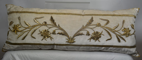 Antique European Raised Gold Metallic Embroidery Pillow