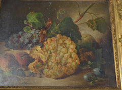 "Francesco Malacrea ""Still Life with Grapes and Peaches"" Oil on Canvas"