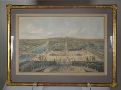 Two Antique French Hand Colored Lithographs of the gardens of Versailles