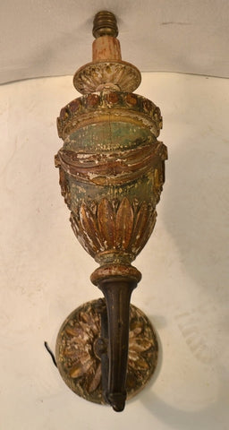Pair Of Louis XVI Carved Wooden Sconces With Bronze Arms