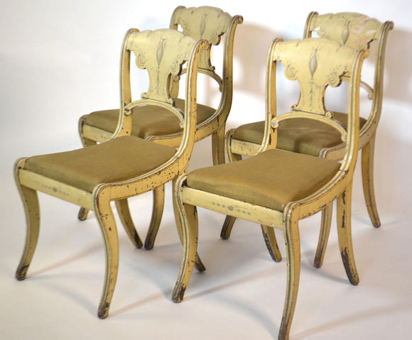 Set Of Four Small Painted English Chairs