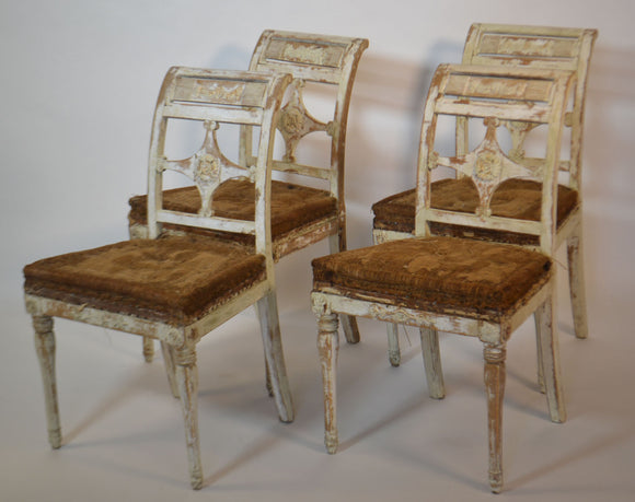 Four Painted Swedish Chairs