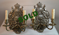Early 20th Century William and Mary-Style Silverplate Sconces