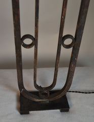 Pair Of 19th Century Wrought Iron Lamps Made Fom Old Grates