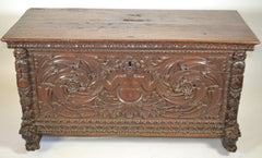 A Continental Carved Walnut Chest