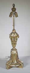 Antique Silver Gilt Wood Tripod Lamp
