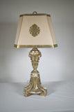 Antique Silver Giltwood Tripod Lamp