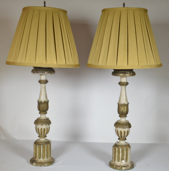 18th Century Pair Italian Fluted Candlestick Lamps