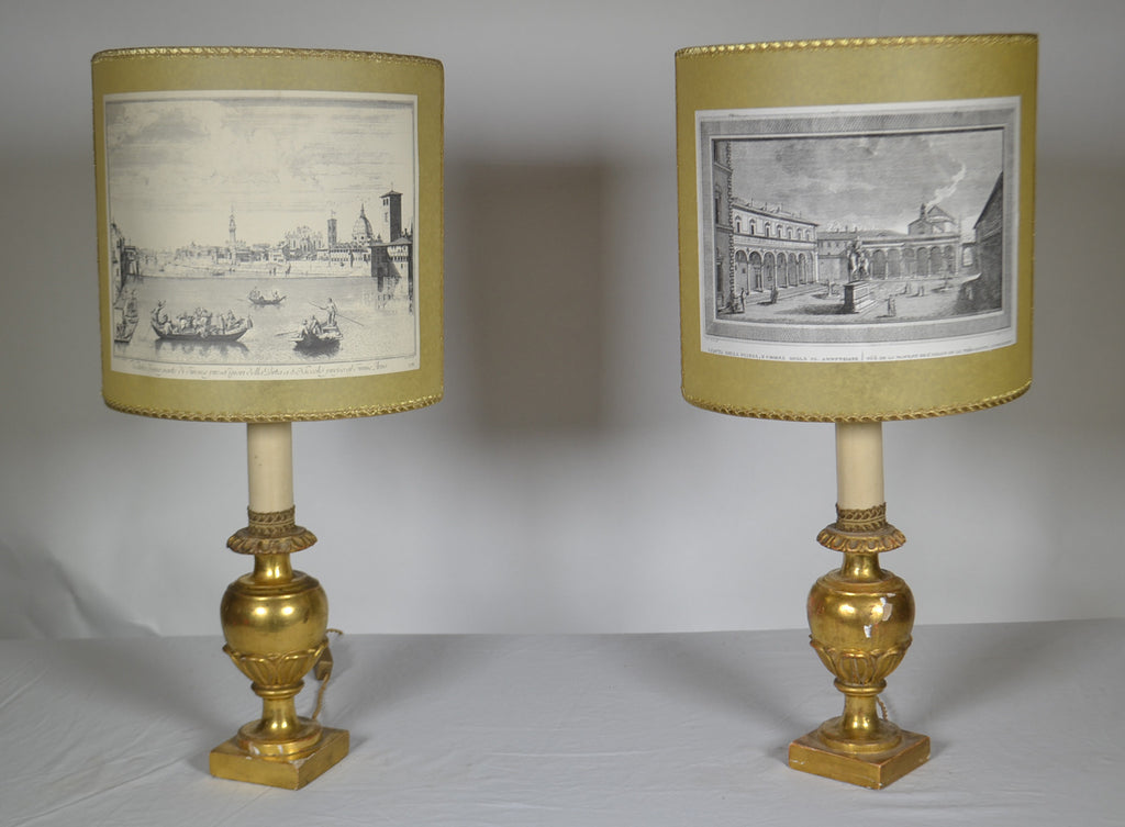 Pair of Italian Gilt wood Carved Fragment Lamps
