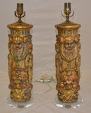 Pair of Parcel-Gilt Molded Plaster Table Lamps