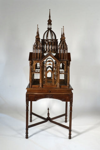 Continental Carved Mahogany Cathedral Bird Cage
